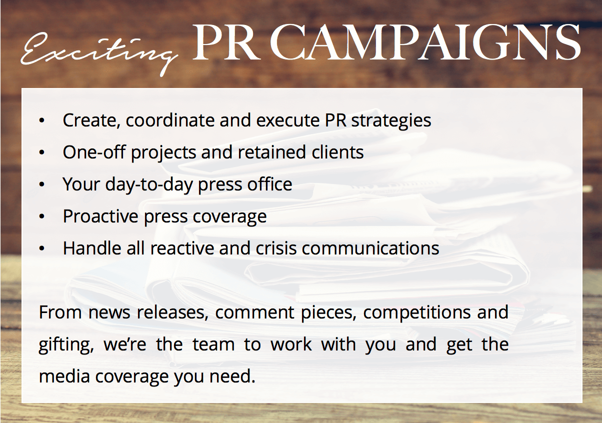Exciting PR campaigns